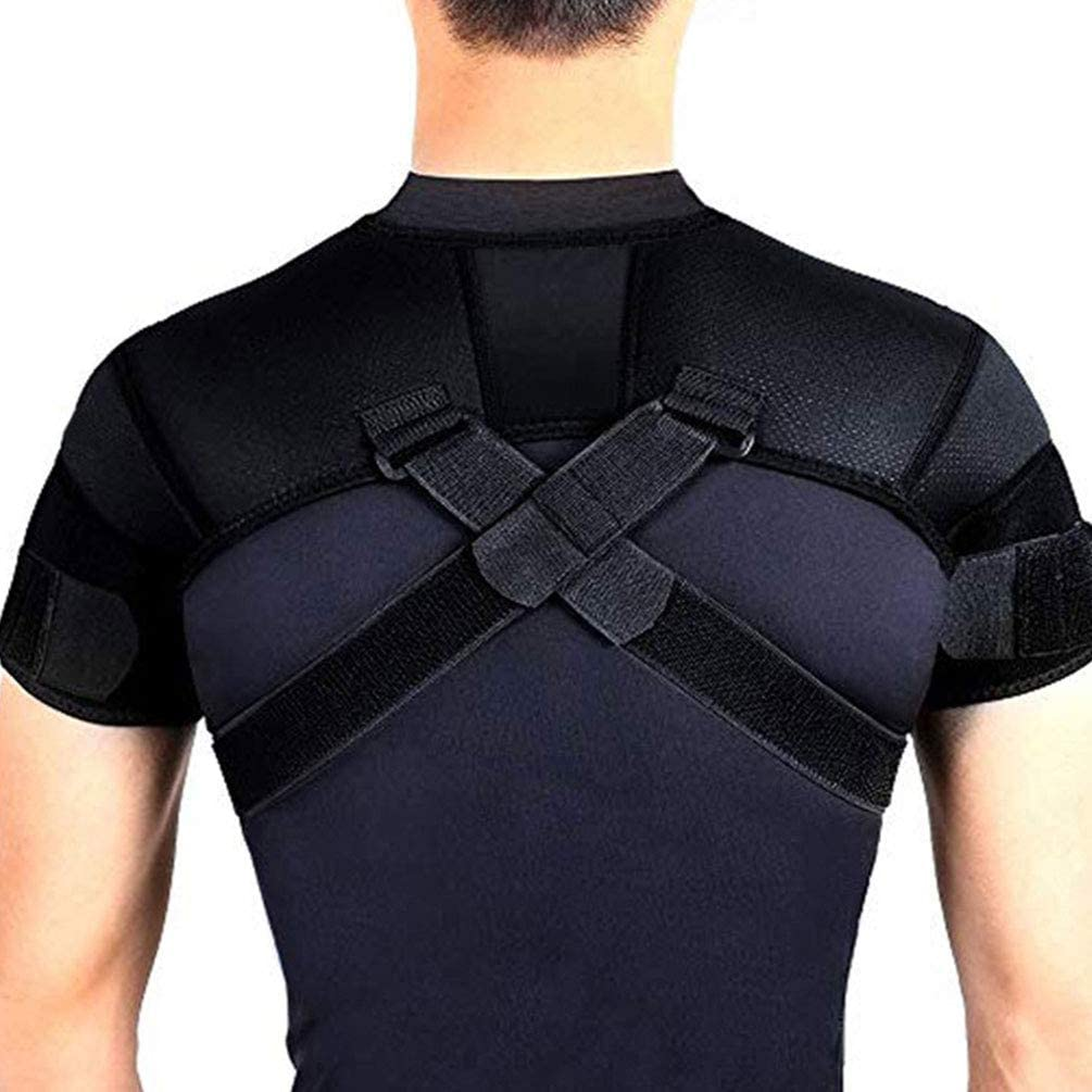 Amazon Com Double Shoulder Support Brace Strap Wrap Protector Rotator Cuff Rheumatoid Arthritis Bursitis Osteoarthritis Tendinitis Ac Joint Pain Relief Sports Outdoors