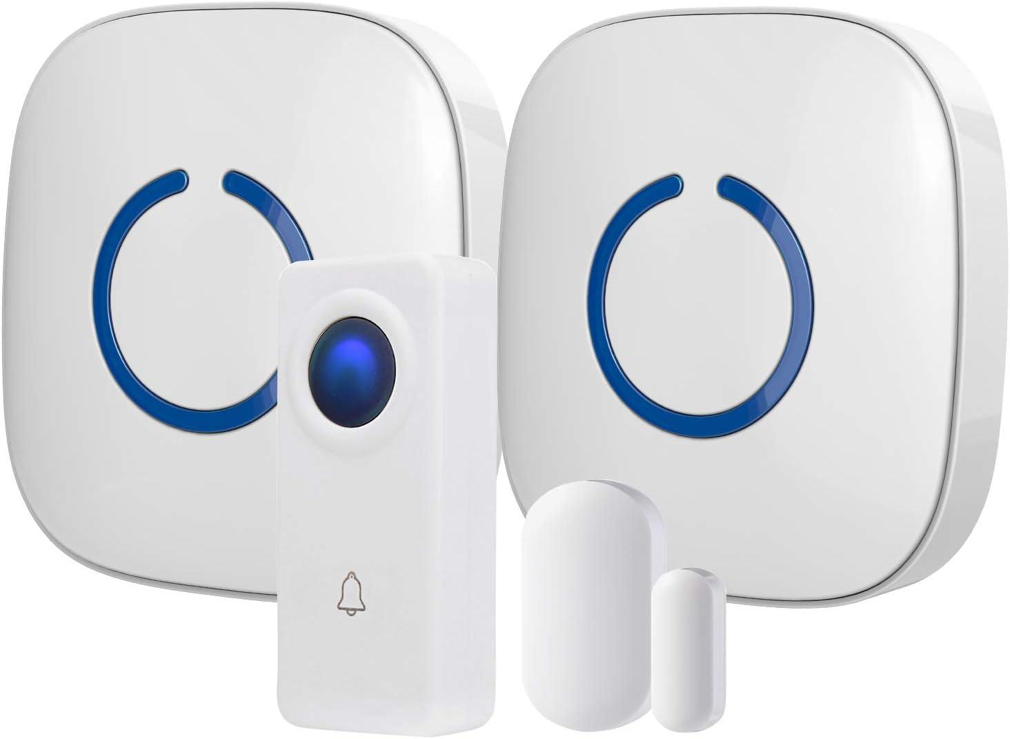 Wireless Doorbell with Hands Free Door Chime, Waterproof Door Bells & Chimes Wireless Kit, 1000-ft Range, 52 Door Bell Chimes, Wireless Doorbells with Door Sensor, SQ1-WH, White