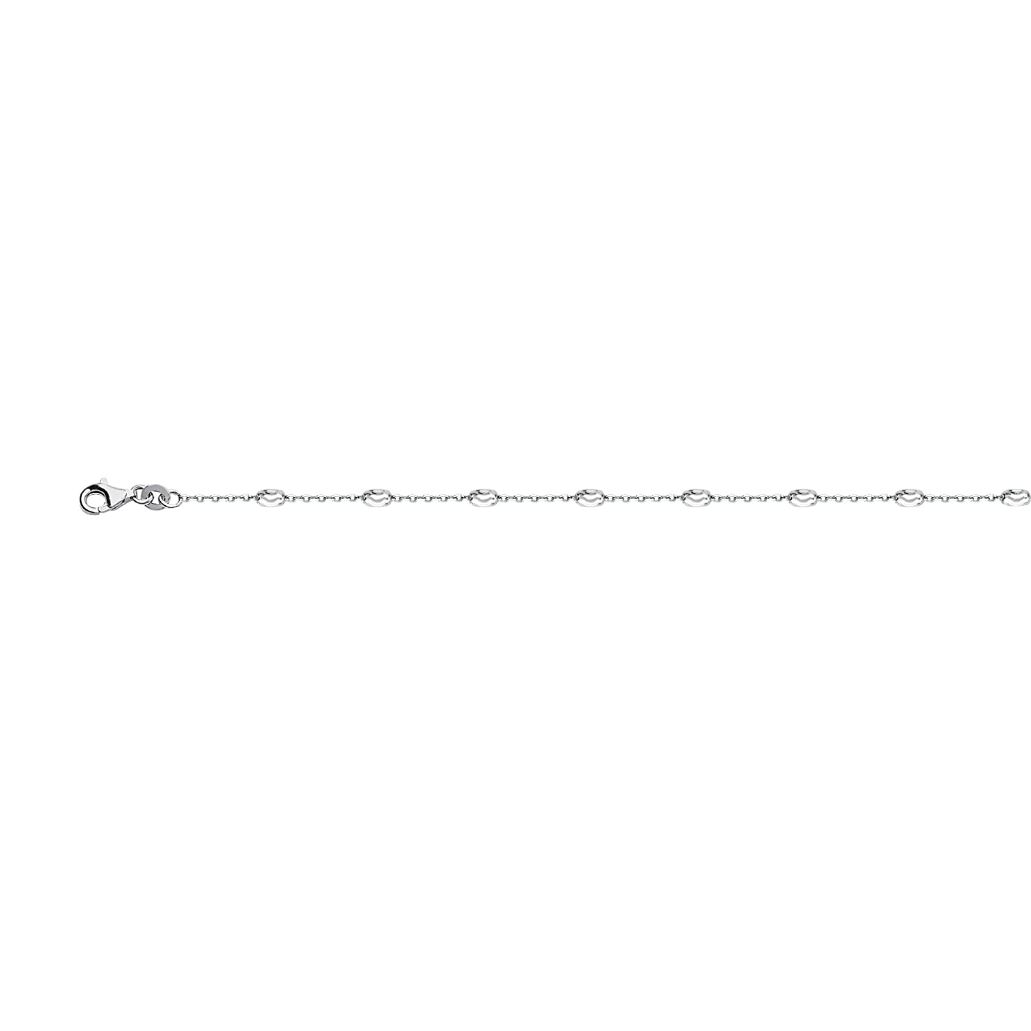 DiamondJewelryNY Silver Anklet Oval Moon Dc Stations Ankl Cable Chain