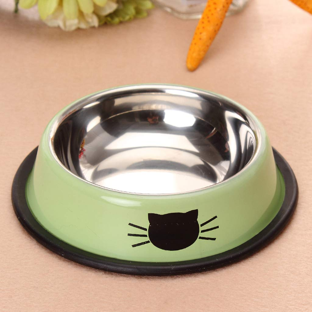 Green KTYX Cat and Dog Food Bowl Drinking Bowl Stainless Steel Non-Slip Thickening Pet Bowl Pet Bowl (color   Green)