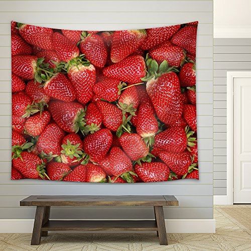 Collection of Freshly Harvested Strawberries Forming a Background with Copy Space Fabric Wall