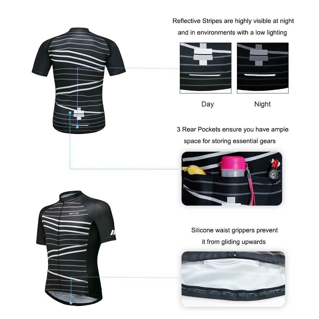 Wantdo Camisa de Ciclismo Transpirable Elasticidad Mangas Cortas para Hombres