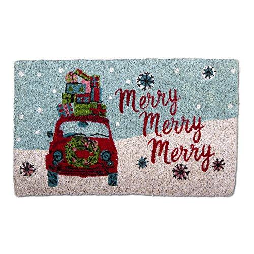 tag - Merry Christmas Whimsy Car Coir Mat, Decorative All-Season Mat for the Front Porch, Patio or Entryway, Multi (Christmas Mat Coir Door)