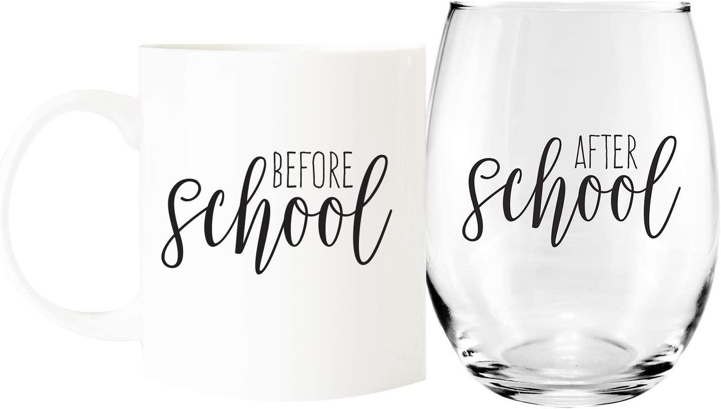 Before School / After School Coffee Mug and Stemless Wine Glass Gift Set