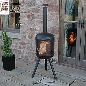 Quemador de chimenea calentador de Patio jardín al aire libre Fire Pit negro elegante elegante