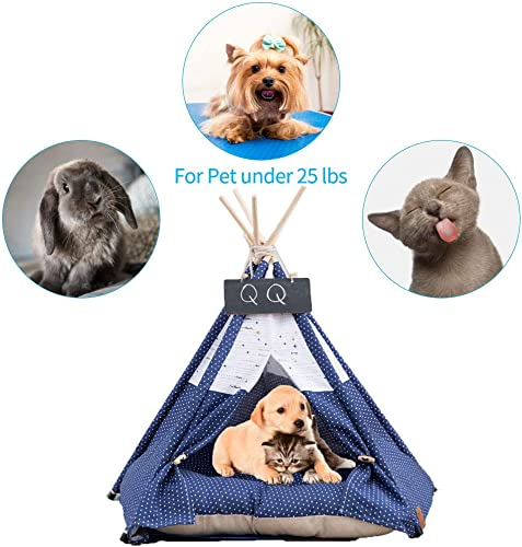 Arkmiido Pet Teepee Dog Cat Bed with Cushion- Luxery Dog Tents Pet Houses with Cushion Blackboard