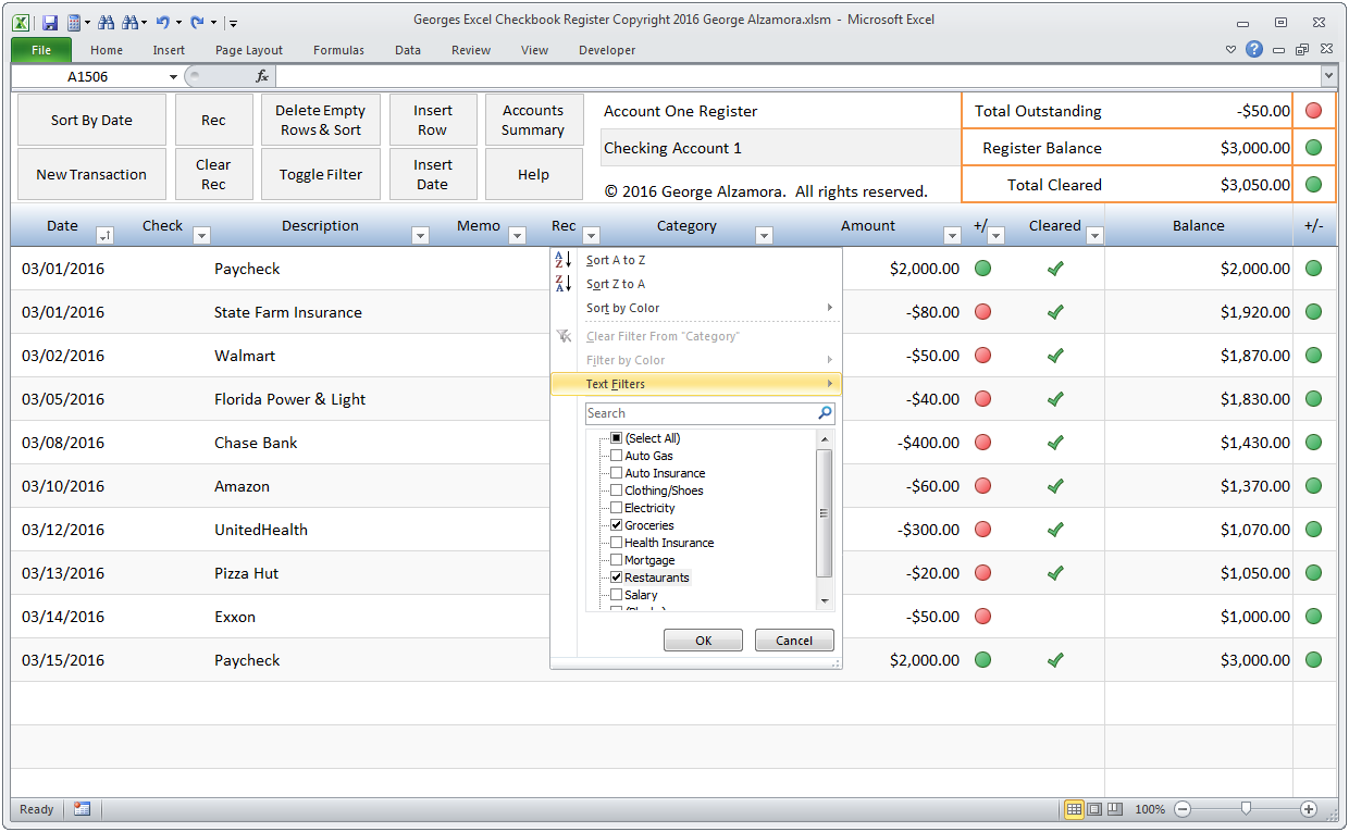 amazon com georges excel checkbook register v3 checkbook software