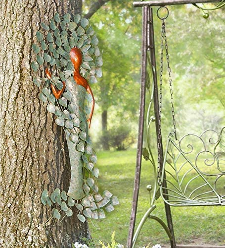 Wind Weather Indoor Outdoor Green Woman Metal Tree Wall Art Spiritual Sculpture Decor 26.75 W x 49.75 H x 1.75 D