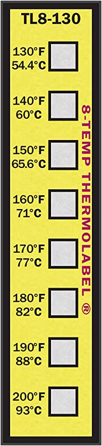 5-Temp Thermolabel Classic 240-280/°F Temperature Label Pack of 16 Labels