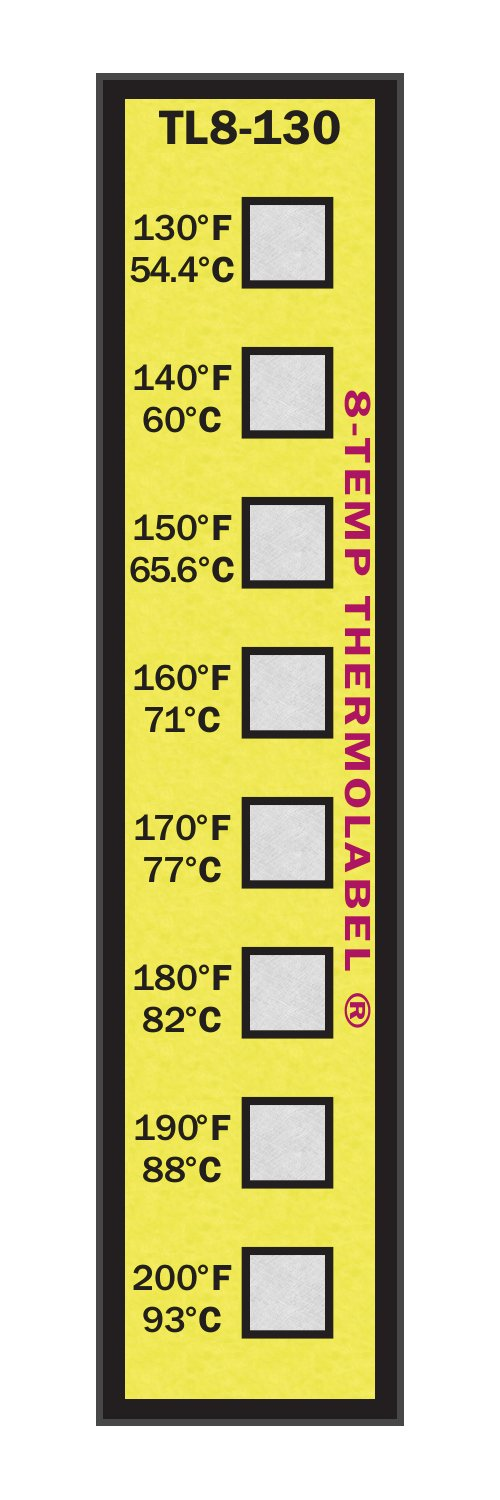 8-Temp Thermolabel 130-200°F Temperature Label Pack of 16 Labels by Paper Thermometer