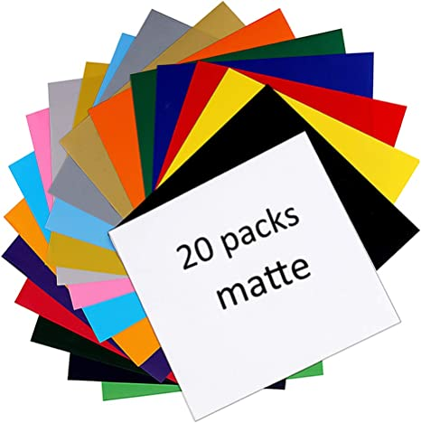 8 x 12 inch Adhesive Coated Sticky Plastic 20 Colored Transparent Vinyl Sheets