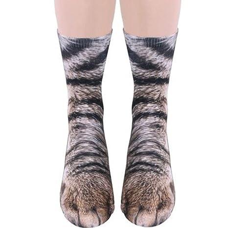 ZooArts® 1 par de calcetines de algodón para hombre con diseño de huellas de animales