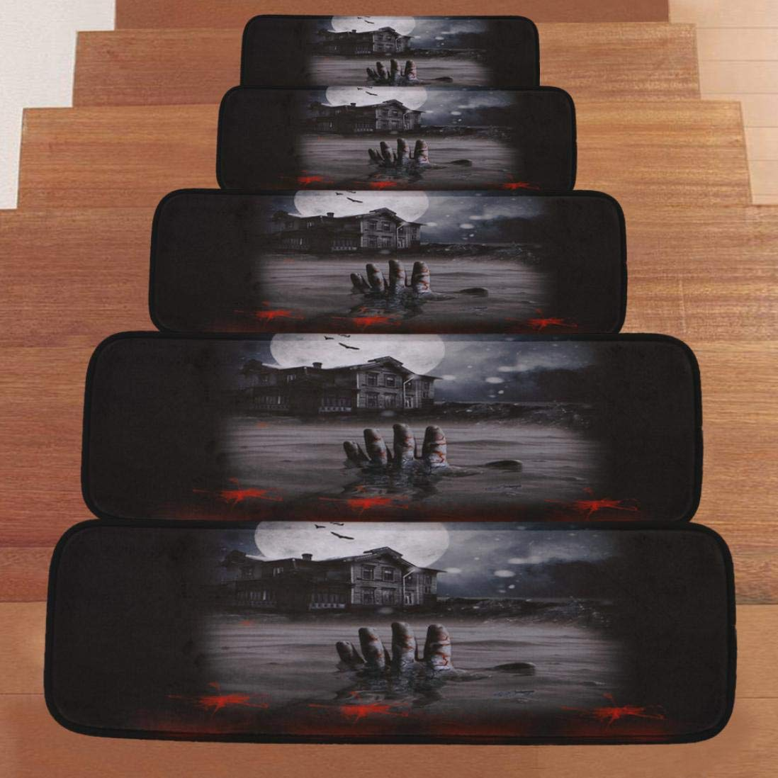 "certainPL Halloween Stair Mats, Non-Slip Indoor Stair Treads Protectors, Set of 5 Modern Step Mats for Hard Floor Staircase, 8.6"" x 27.5"" (A) 8.6"" x 27.5"" (A)"