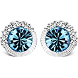 T400Jewelers Elegant Blue Crystals Earrings for Women Earrings Studs for Girls Birthday Gifts