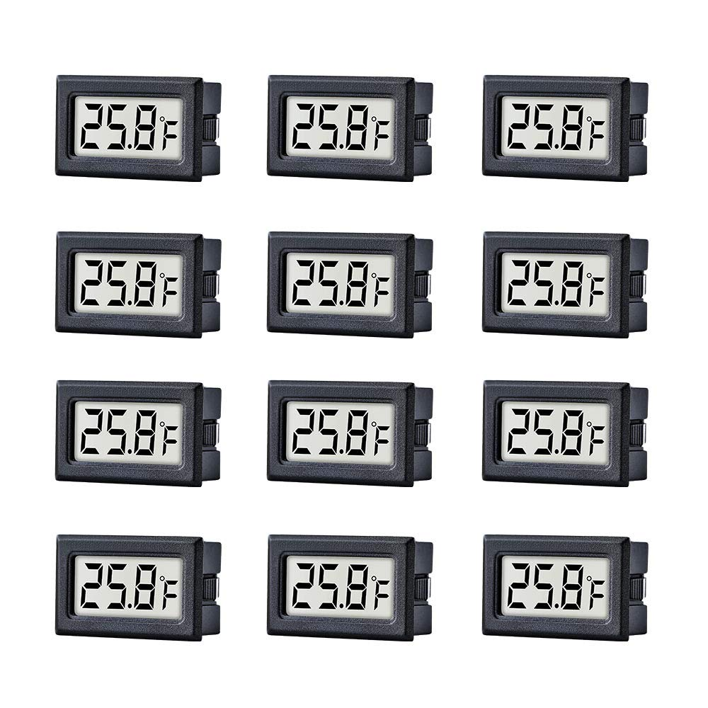 TAIWEI 12 Pack Mini Small Digital Electronic Temperature Humidity Meters Gauge Indoor Thermometer Hygrometer LCD Display Fahrenheit (℉) for Humidors, Greenhouse, Garden, Cellar by TAIWEI