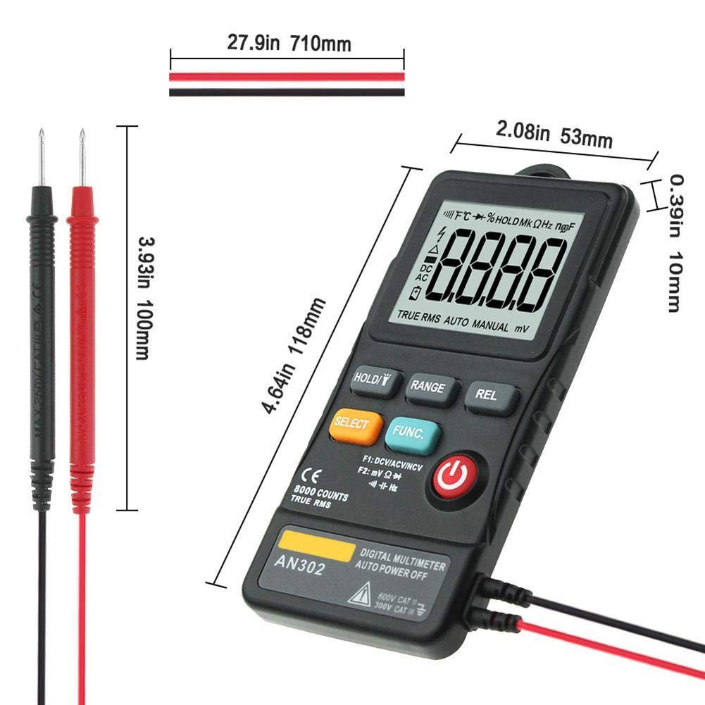 negro ANENG AN302 Mult/ímetro digital en forma de pluma 8000 medidores de resistencia Ture RMS AC//DC