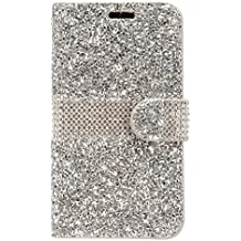 ZTE Blade Z Max Z982/ Sequoia Case,Customerfirst Diamond Pouch PU Leather Wallet Diamond Protector Cover (Silver)