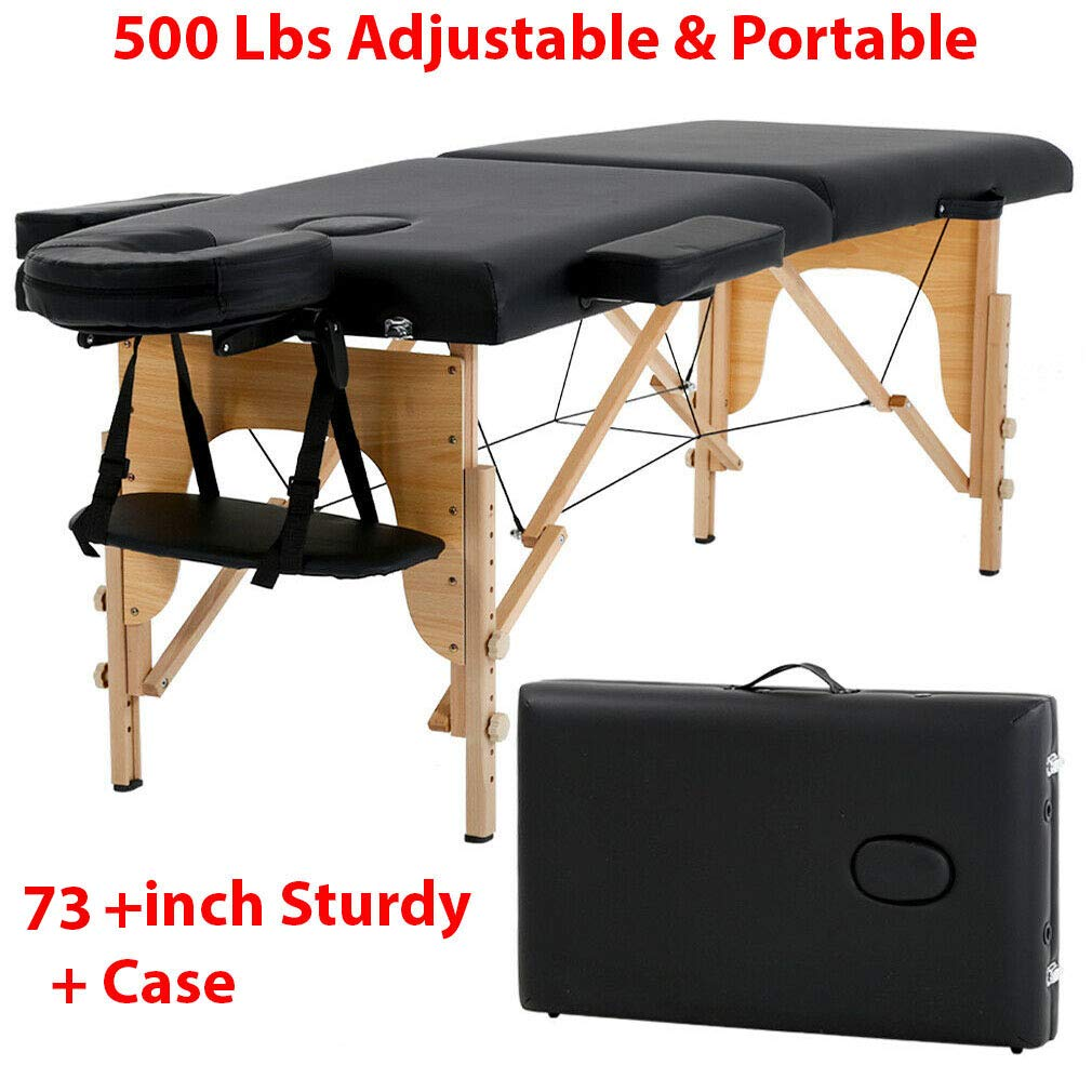 450 Lbs 73-inch Sturdy & Durable - Portable Adjustable Massage Table Massage Bed Spa with Carry Case Ideal for Professional Therapists, Therapy Students & Home Users Alike by Sunnady