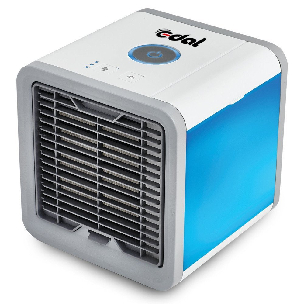 EDAL Mini Air Cooler Air Purifier Humidifier 3 in 1 Evaporative USB Powered Personal Space Cooler Desk Fan Portable Air Conditioner for Office and Bedroom (White) EDAL0959