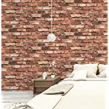 """HaokHome 69090 Vinyl Retro Vintage Faux Brick Wallpaper Red Rust for Home Bar Wall Decoration Wall Paper 20.8"""" x 393.7"""""""
