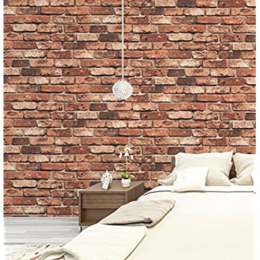 HaokHome 69090 Vinyl Retro Vintage Faux Brick Wallpaper Red Rust for Home Bar Wall Decoration Wall Paper 20.8  x 393.7