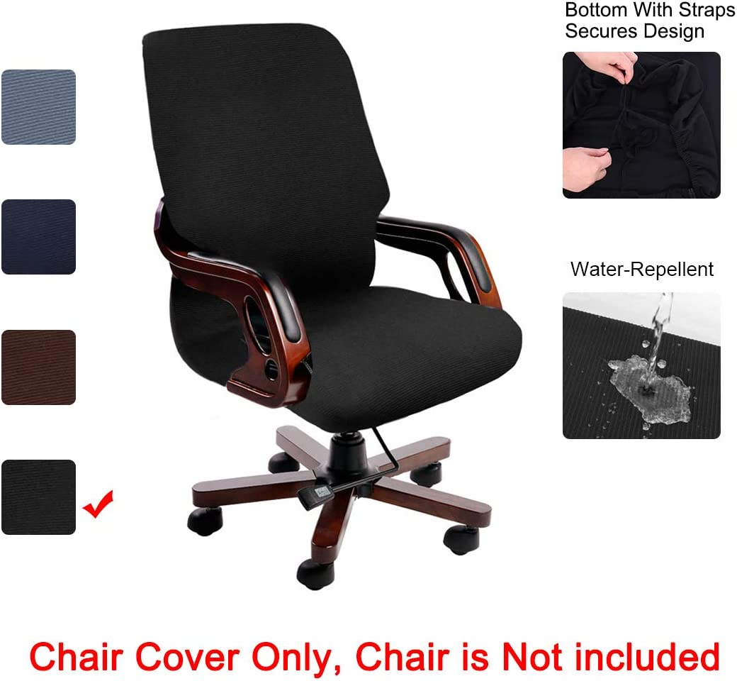 PiccoCasa Stretch Waterproof Office Chair Cover, Jacquard Stripe Computer Chair Covers High Back Desk Chair Slipcovers for Universal Rotating Boss Chair with Armrest Medium Size Black