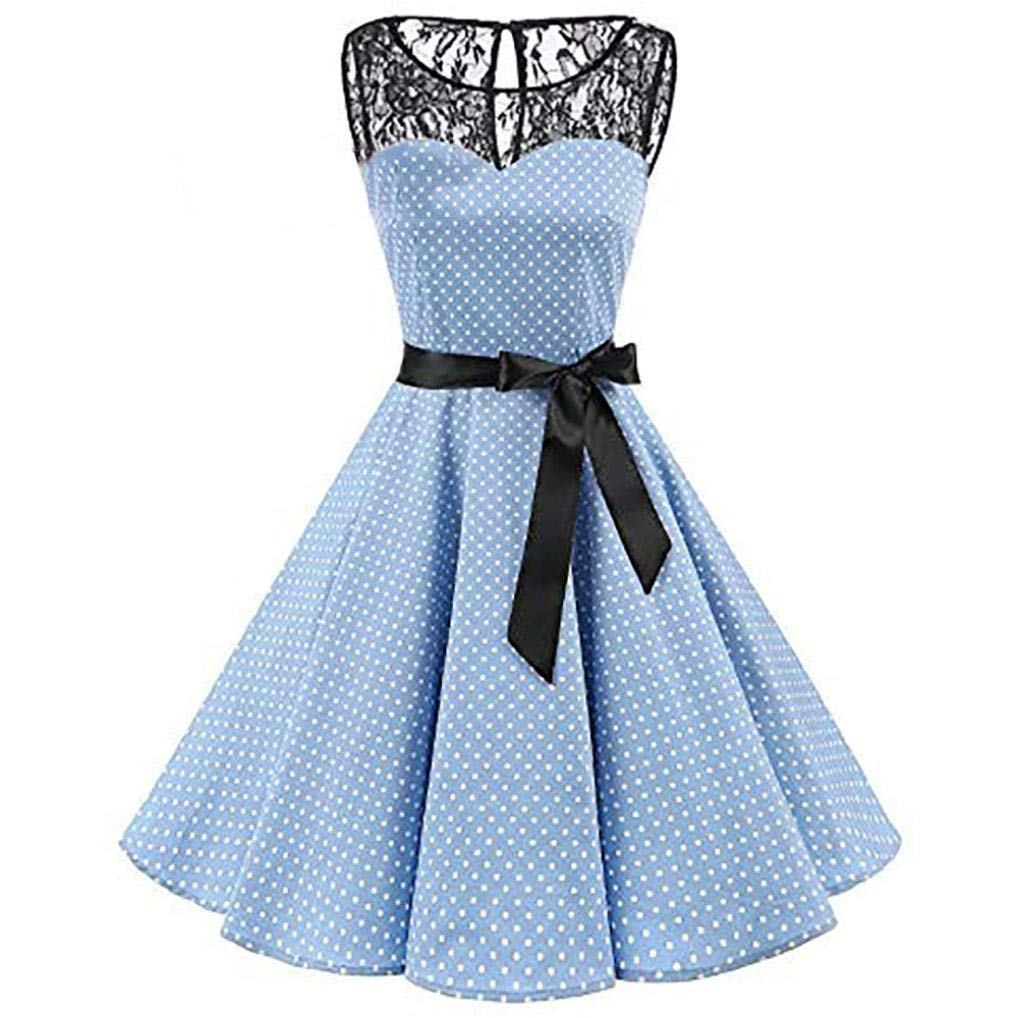 Corriee Dresses for Women Vintage Sleeveless Polka Dot Evcening Party Swing High-Waist Hepburn Pleated Dress