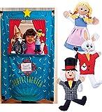 Three Alice in Wonderland Puppets plus Doorway Puppet Theater
