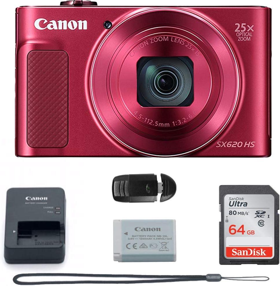 PowerShot SX620 Digital Camera w/25x Optical Zoom - Wi-Fi & NFC Enabled (RED) Camera + 64GB Memory Card Basic Bundle