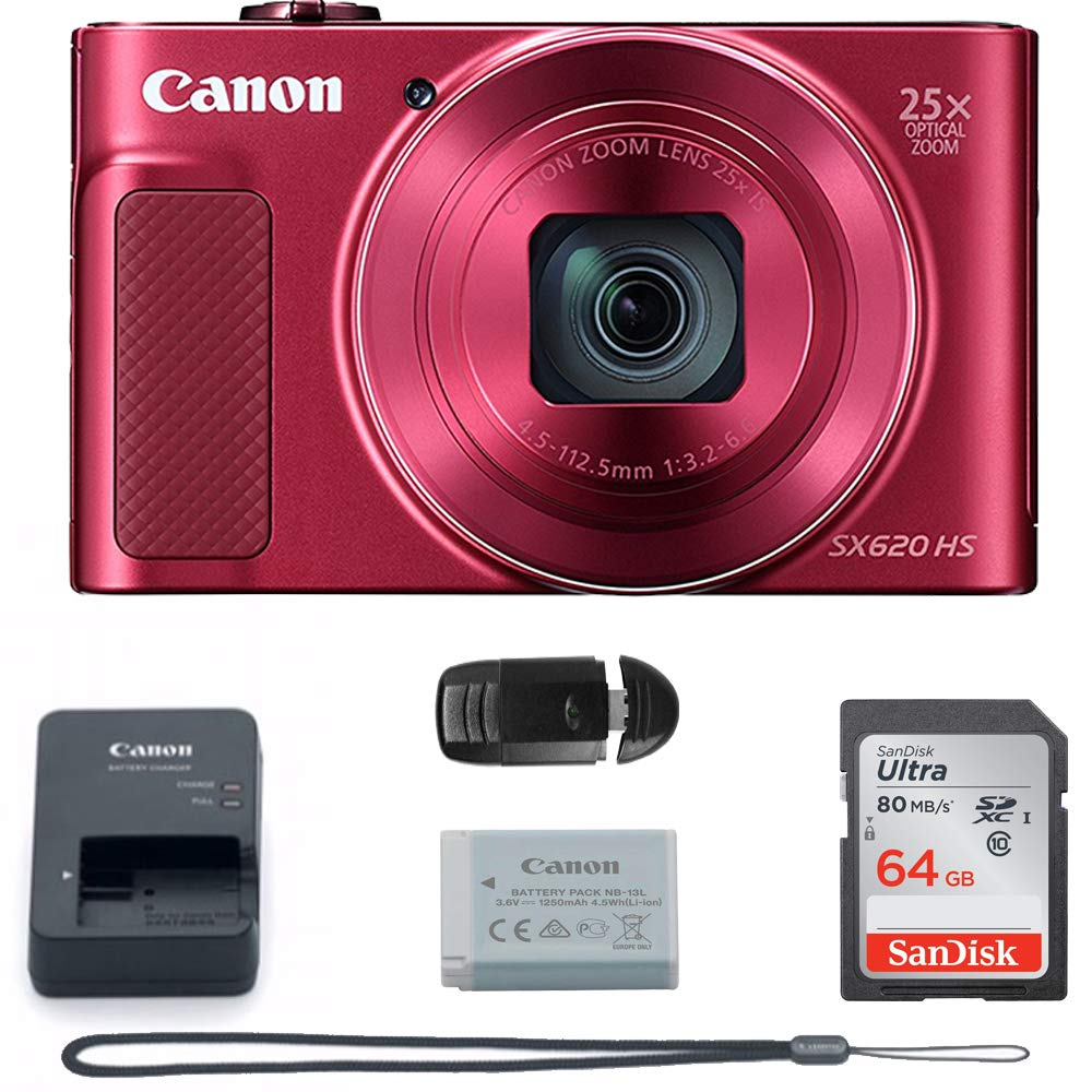 Canon PowerShot SX620 Digital Camera w/25x Optical Zoom - Wi-Fi & NFC Enabled (RED) - Memory Card Bundle (Camera + 64GB Memory Card) Buzz Photo Basic Bundle