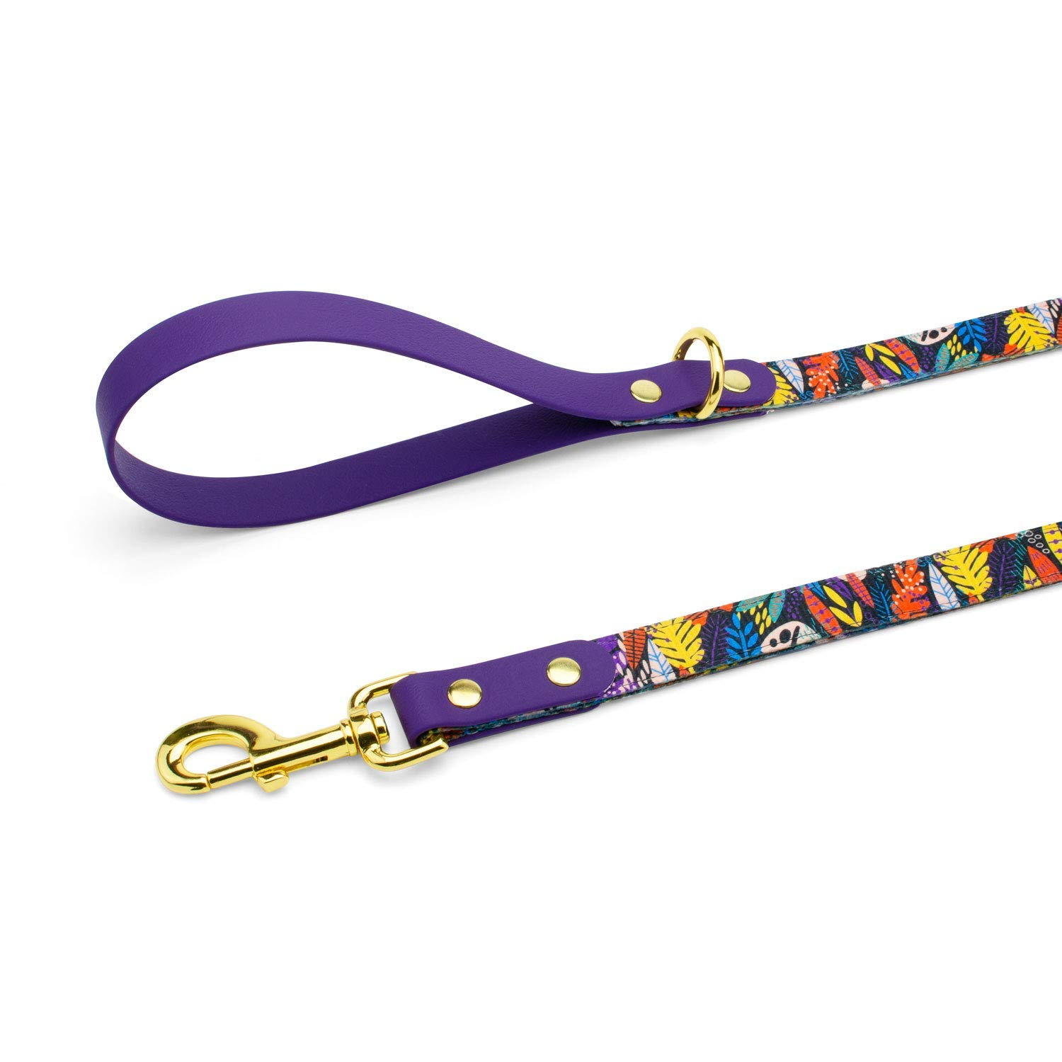 Stylish Colorful Exotic Jungle Print Walking Leash with Comfortable Waterproof Handle, Gold Metal Hardware - Handmade Designer Leashes for X-Small, Medium, Large Dogs