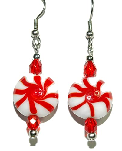 Red White Glass Peppermint Candy Christmas Dangle Earrings H348
