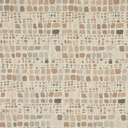 Contemporary Retro Palette - Beige and Gray Brown Retro Color Palette Abstract Chenille Upholstery Fabric by the yard