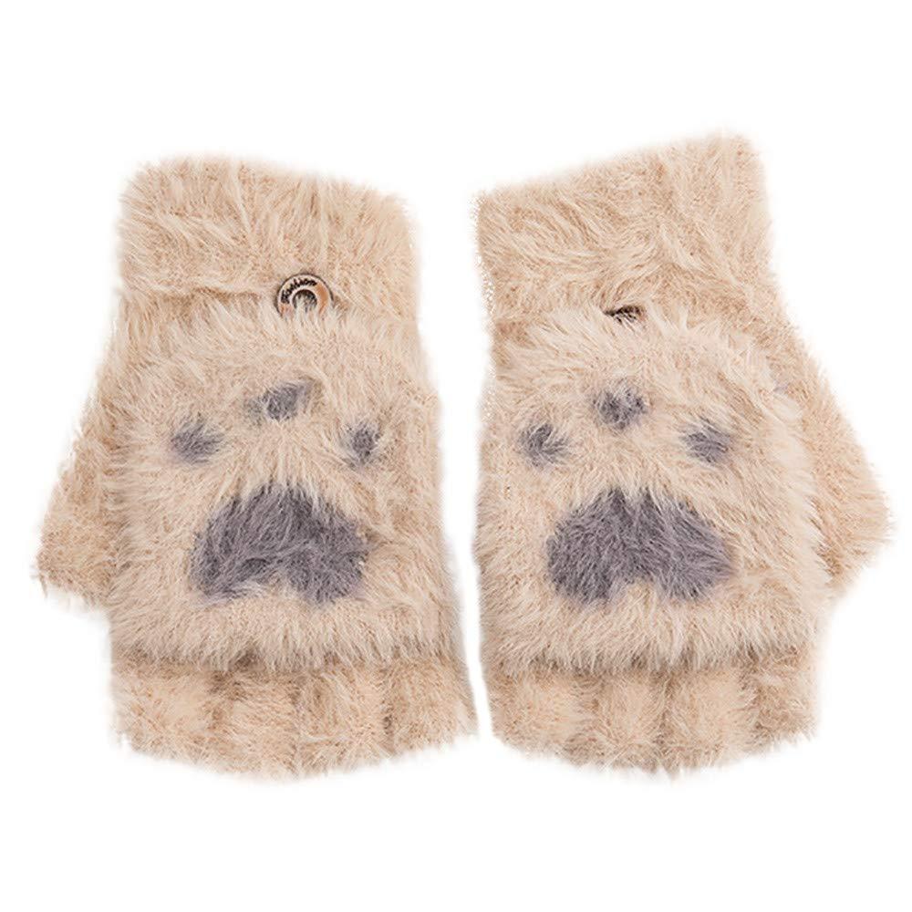 POIUDE Winter Women Gloves Sale Knit Flap Fingerless Cute Mitten Gloves Female Velvet Warm Half Finger Gloves Free Size) POIUDE-baby clothes
