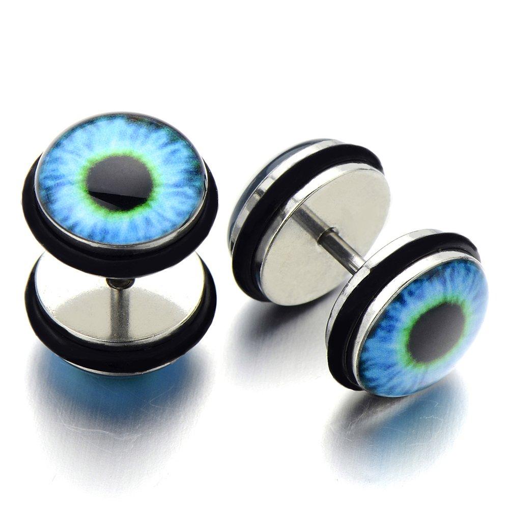 Evil Eye Black Stud Earrings for Men Women, Stainless Steel Illusion Tunnel Plug Screw Back, 11mm 2pcs