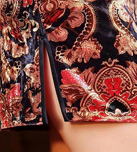 Luck Femme Qipao Eté Robe Classique Manche Courte en Velours