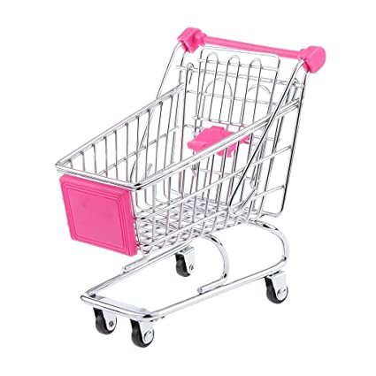 kimberleystore Creative Mini carrito de la compra carro de supermercado carrito con ruedas Asiento (Rosy