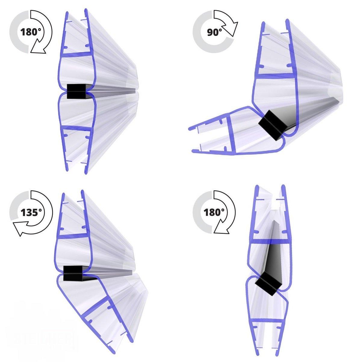 UKM04 STEIGNER Joint d/étanch/éit/é DOUCHE magn/étique pour verre d/épaisseur 6mm // 7mm // 8mm UPS SET 90 DEGR/É 201cm