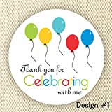 Set of 60 stickers - Balloons Favor Stickers - Baby Shower Stickers - Rainbow Colors stickers- Thank you for Celebrating with me
