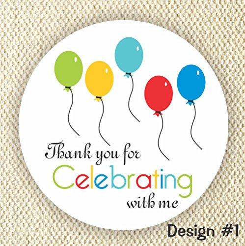 Set of 60 stickers - Balloons Favor Stickers - Baby Shower Stickers - Rainbow Colors stickers- Thank you for Celebrating with me by Philly Art & Crafts