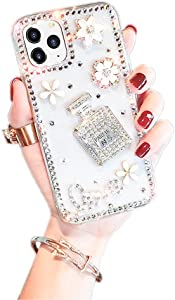 Perfume Bottle Case iPhone 12 /iPhone 12 Pro Diamond Case for Woman,3D Glitter Sparkle Bling Case Luxury Shiny Crystal Rhinestone Diamond Bumper Clear Protective Case Cover for iPhone 12 6.1''