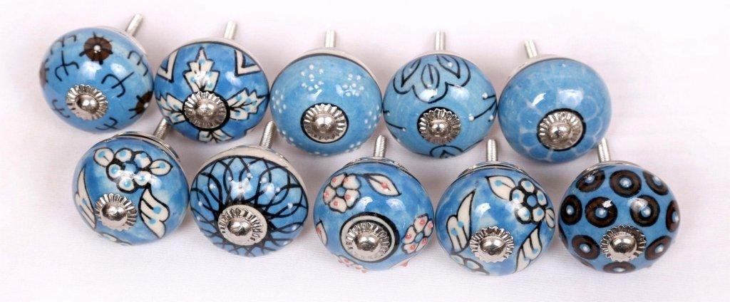 Indian Boutons 10Ornated Bleu Motif estampé peint à la main en céramique Boutons de porte de meuble de cuisine Boutons indianknobs