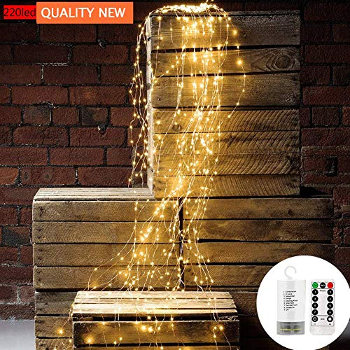 String Lights Decorative Twinkle Starry Lights 220 Leds Waterfall Vine String Lights Battery Operated copper Wire Branch lights with Remote Timer for Garden Outdoor Christmas Tree white (Warm White)