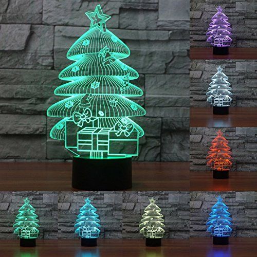 Price comparison product image 3D Christmas Tree Night Light Table Desk Optical Illusion Lamps 7 Color Changing Lights LED Table Lamp Xmas Home Love Brithday Children Kids Decor Toy Gift
