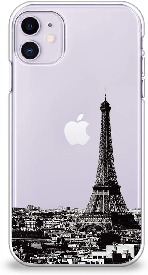 CasesByLorraine Compatible with iPhone 11 Case, Paris Eiffel Tower Clear Transparent Flexible TPU Soft Gel Protective Cover for iPhone 11 6.1