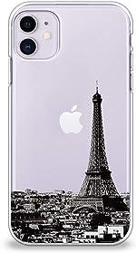 CasesByLorraine Compatible with iPhone 11 Case, Paris Eiffel Tower Clear Transparent