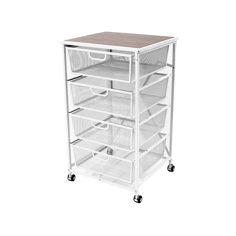 Origami Folding Wheeled Portable Home 4 Pull Out Drawer Storage Cart, White