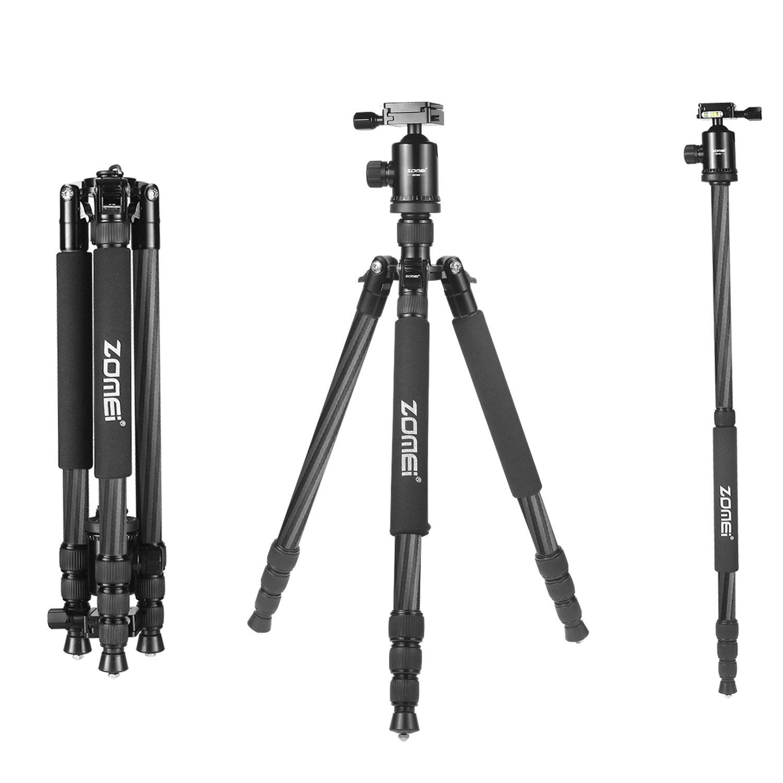 Zomei Z888C Professional Portable Metallic Color Carbon Fiber Tripod & Ball Head Compact Travel for All Canon Sony, Nikon, Samsung, Panasonic, Olympus, Kodak, Fuji, Cameras and Video Camera (Black)