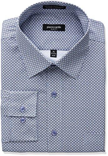 Pierre+Cardin+Men%27s+Slim+Fit+Dress+Shirt%2C+Retro+Pattern+Blue%2C+16%22-16.5%22+Neck+34%22-35%22+Sleeve