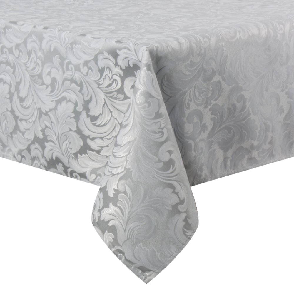 ColorBird Scroll Damask Jacquard Tablecloth Spillproof Waterproof Fabric Table Cover for Kitchen Dinning Tabletop Linen Decor (Rectangle/Oblong, 60 x 102 Inch, Silver Gray)